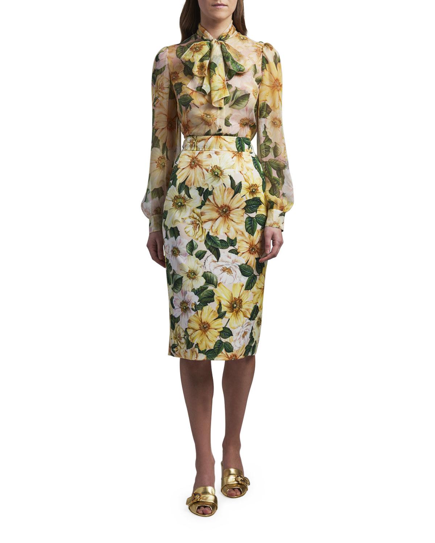 Dolce & Gabbana FLORAL PRINT SILK TIE-FRONT BLOUSE