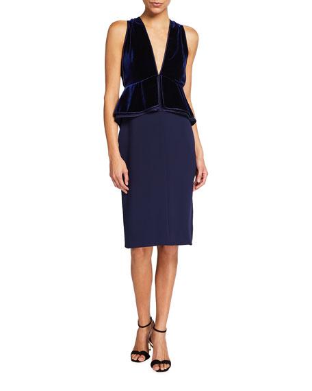 TOM FORD Velvet Peplum Bodice Midi Dress