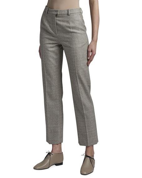 Giorgio Armani Tweed Mini Plaid Classic Slim-Leg Pants
