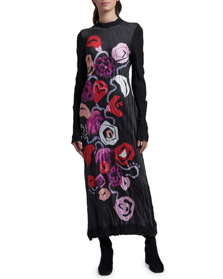 Marni Floral-Print Long-Sleeve Dress