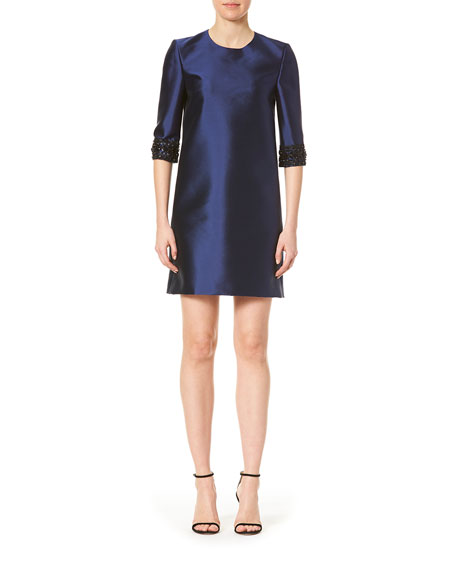 Carolina Herrera Embellished-Cuff 3/4-Sleeve Dress