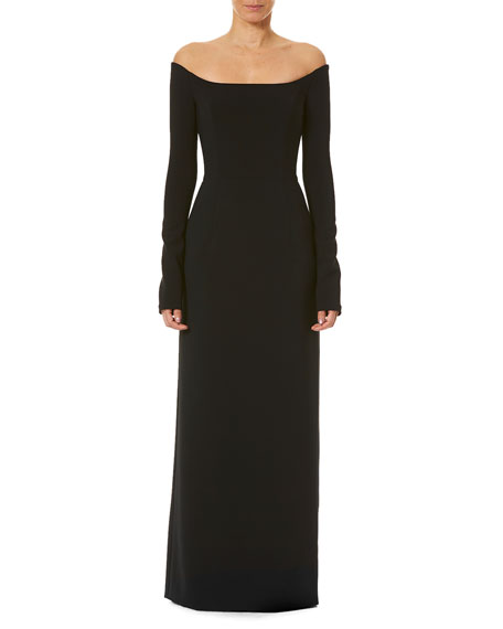 Carolina Herrera Off-the-Shoulder Long-Sleeve Gown