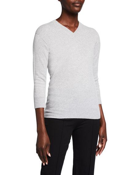 Giorgio Armani Alashan 3/4-Sleeve Cashmere V-Neck Sweater