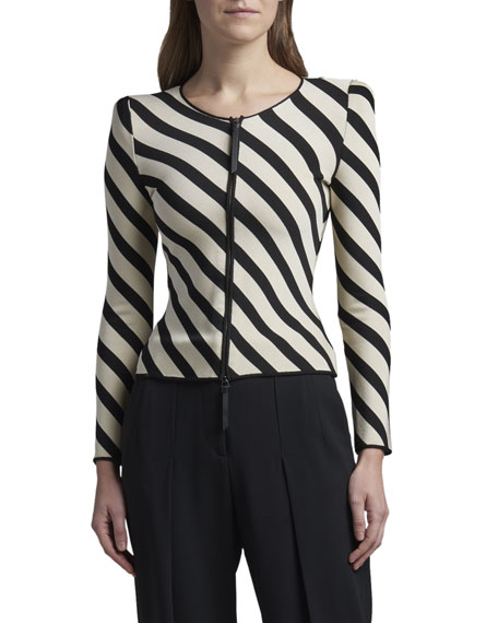 Giorgio Armani Striped Knit Zip-Front Jacket