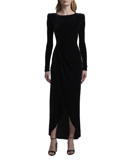 Giorgio Armani Cross Front Velvet Stretch Jersey Gown
