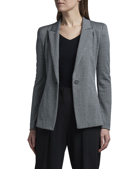 Giorgio Armani One-Button Peak-Lapel Chevron Jersey Jacket