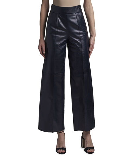 Giorgio Armani High-Waist Leather Wide-Leg Pants