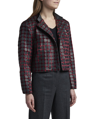 Double-Breasted Leather Jacket w/ Red Velvet Trim