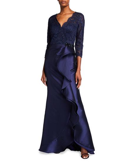 Rickie Freeman For Teri Jon Premier V-Neck Lace Top Stretch Gazaar Gown