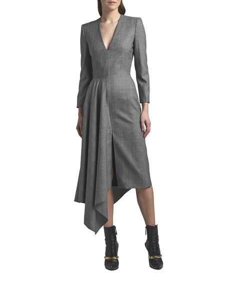 Alexander McQueen Draped Long-Sleeve V-Neck Midi Dress