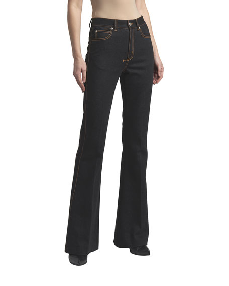 Alexander McQueen Boot-Cut Jeans with Contrast Stitching