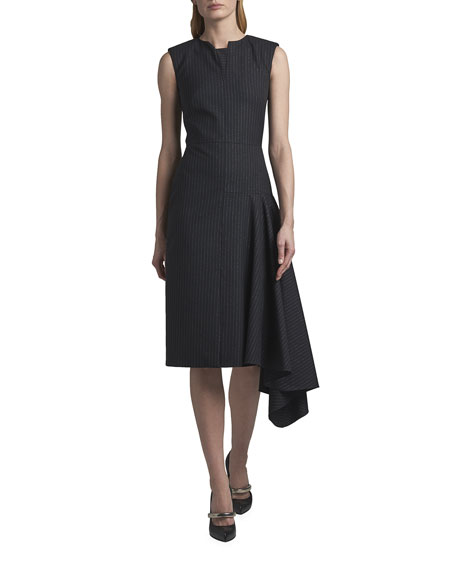 Alexander McQueen Asymmetric Draped Sleeveless Cocktail Dress