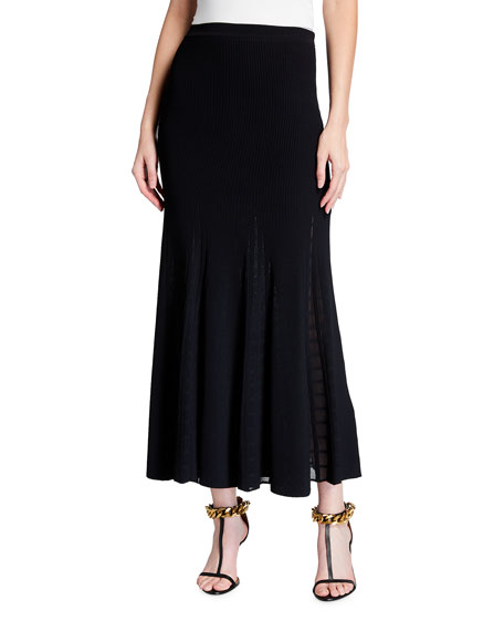 Alexander McQueen Ottoman Knit Sheer Plaid Midi Skirt