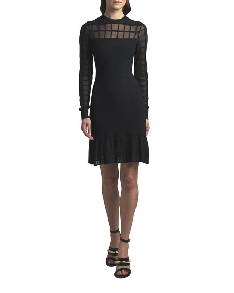 Alexander McQueen Crewneck Windowpane Mesh Short Dress
