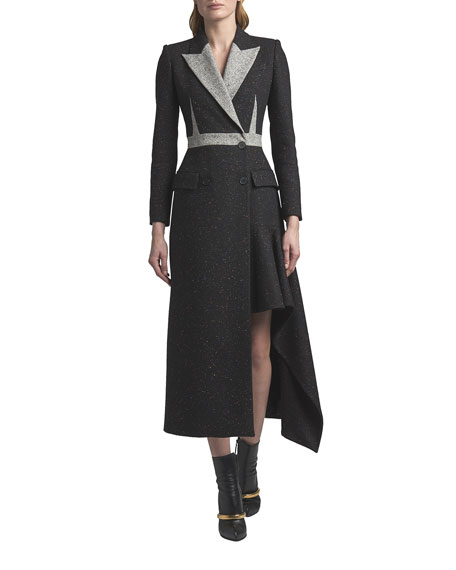 Alexander McQueen Colorblock Wool Double-Breasted Draped Coat