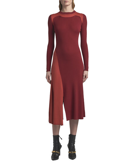 Alexander McQueen Crewneck Wool Long-Sleeve Dress