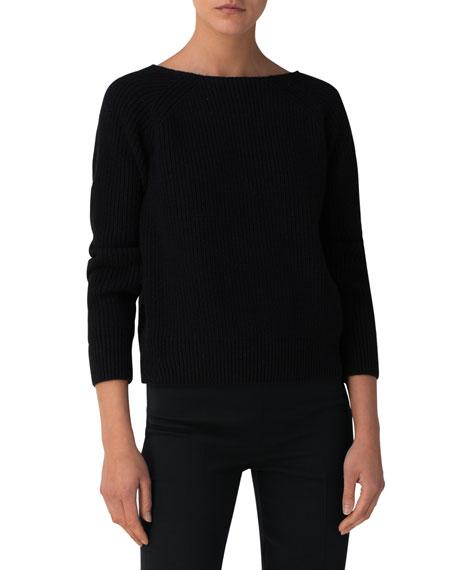 Akris Metallic Cashmere/Cotton Boat-Neck Sweater