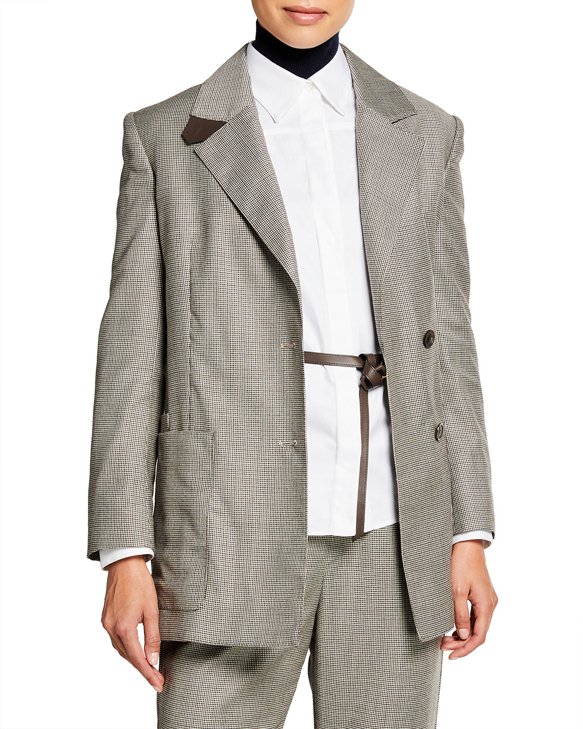 Tiny Check Wool Jacket with Leather Belt
