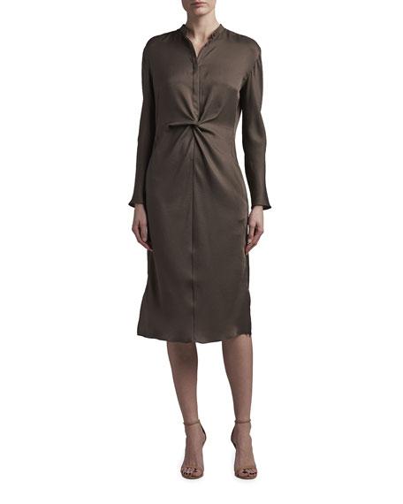 Agnona Knot Waist Satin Midi Dress