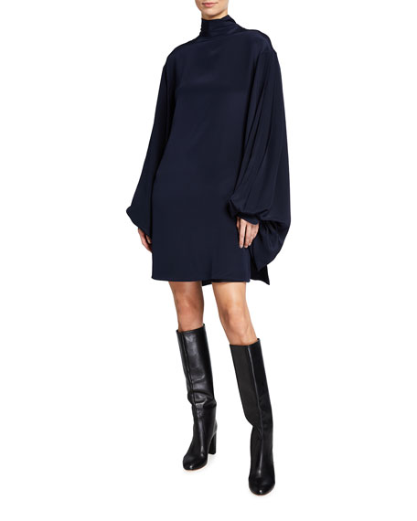 Victoria Beckham Bishop-Sleeve Silk Mini Dress