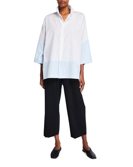 Eskandar Sloped-Shoulder Shirt with Double Stand Collar