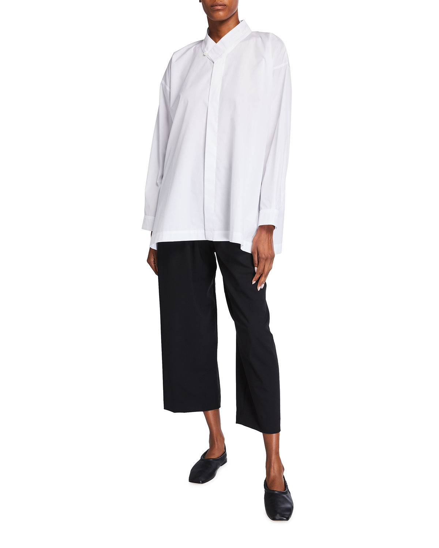Eskandar Collared A-line Cotton Button-down Shirt In White