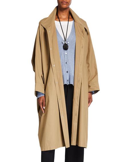Eskandar Sloped-Shoulder Long Raincoat
