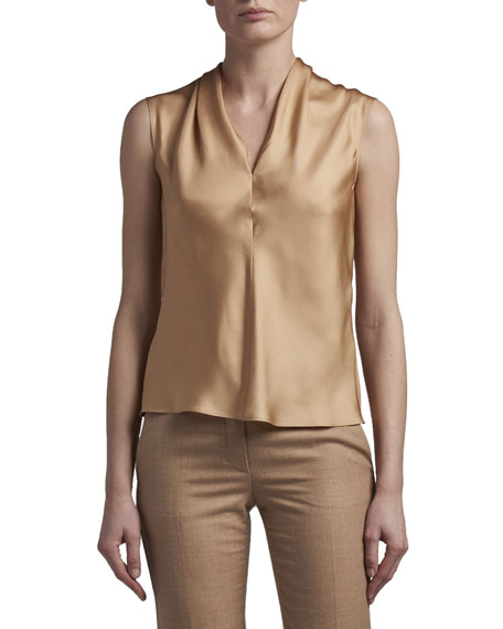 Agnona Eternal Silk Twill Sleeveless Shell