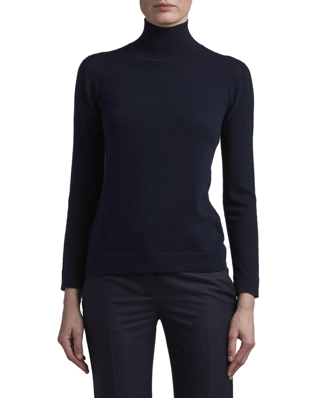 Cashmere Turtleneck Sweater with Tubular Finishing