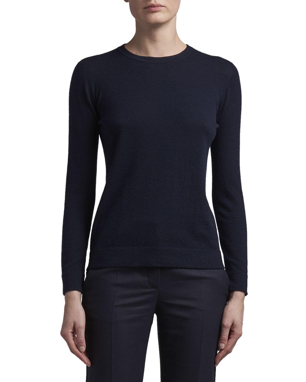 Long-Sleeve Cashmere Crewneck Sweater with Tubular Finishing