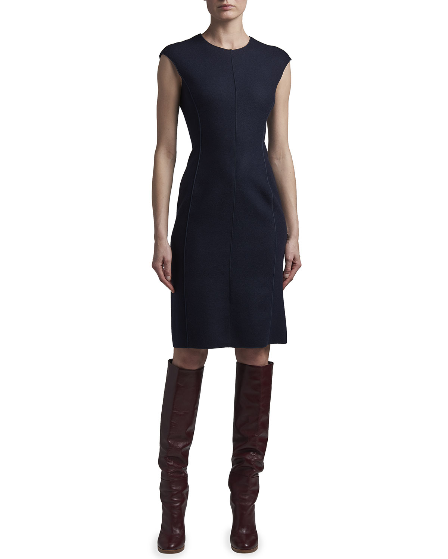 Seamed Cashmere Sheath Dress