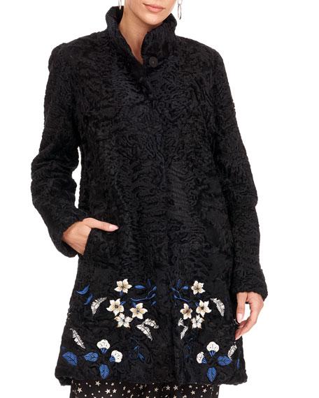 Gorski Embroidered Lamb Stroller Coat