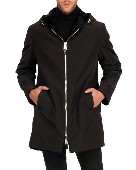 Gorski Men's Reversible Shearling Parka Coat