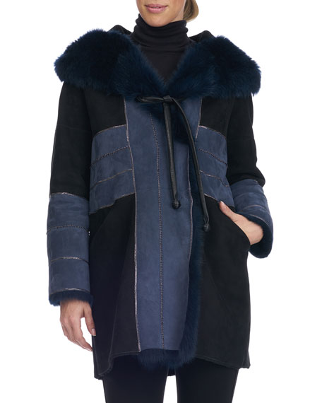 Christia Shearling Lamb Fur Parka with Toscana & Chain Detail