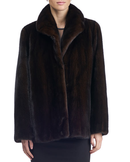 Gorski Reversible Mink Fur/Silk Taffeta Coat