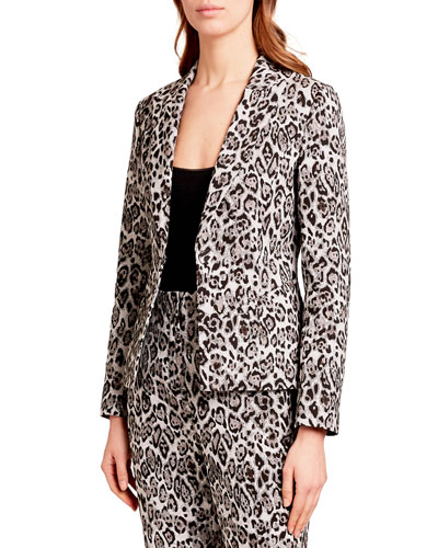 Iris Single-Breasted Leopard-Print Blazer