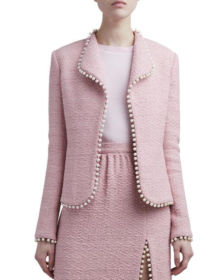 Giambattista Valli Pompom-Trim Tweed Jacket