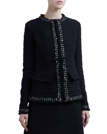 Giambattista Valli Tweed Round-Neck Jacket