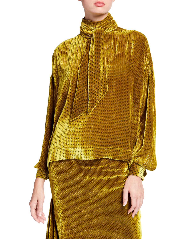 Chartreuse Velvet Tie Blouse