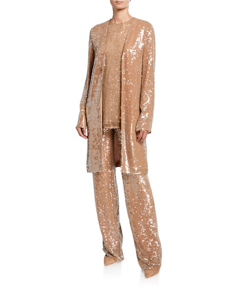 LAPOINTE Sequined Jersey Duster Jacket, Camel