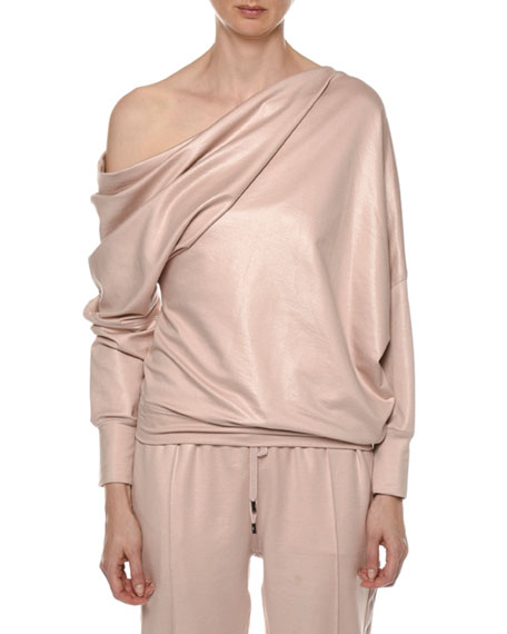 TOM FORD One-Shoulder Glossy Sweatshirt