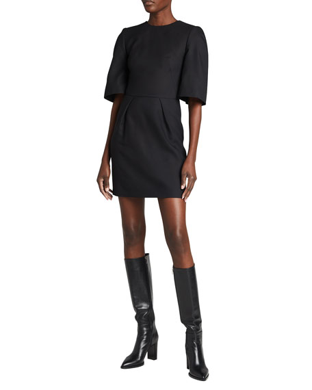 Alexander McQueen Wide Sleeve Mini Wool Dress