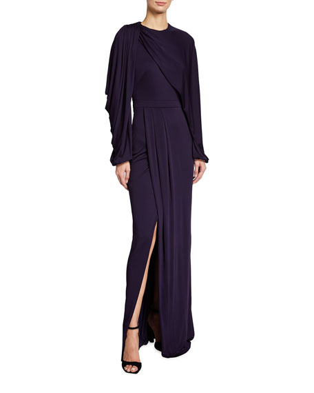 Alexander McQueen Jersey Draped Long-Sleeve Slit Gown