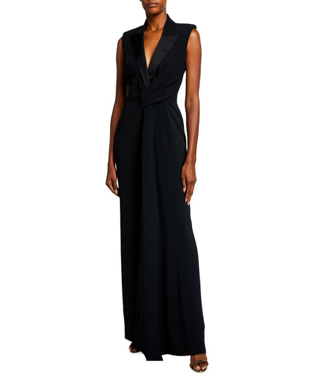 Alexander McQueen Draped-Front Tailored Tuxedo Gown