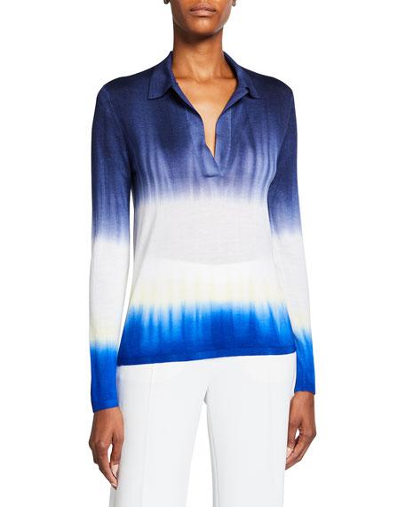 Gabriela Hearst Elaine Tie-Dye Cashmere Polo Sweater