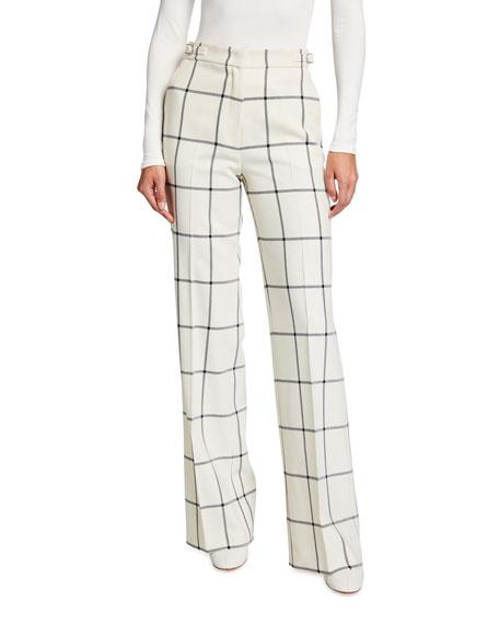 Gabriela Hearst Leda Windowpane-Print Wool Pants