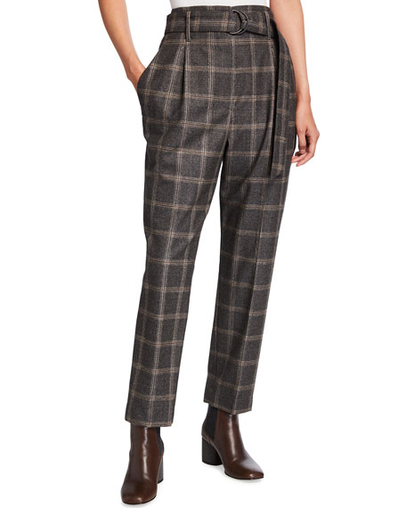 Brunello Cucinelli Belted Wool Check Trousers