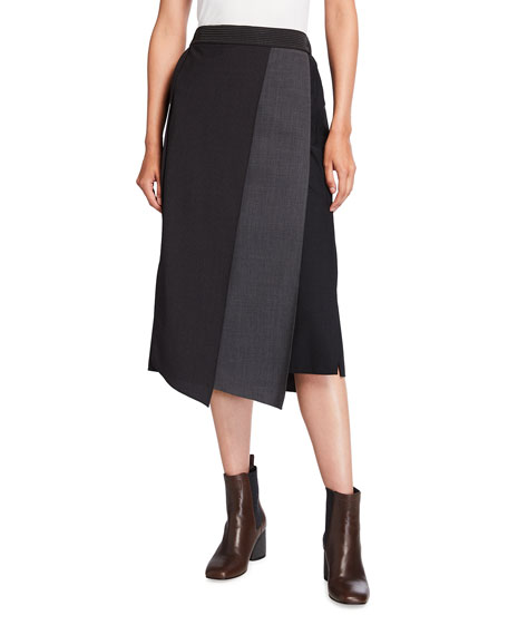 Brunello Cucinelli Tropical Two-Tone Asymmetric Wool Skirt