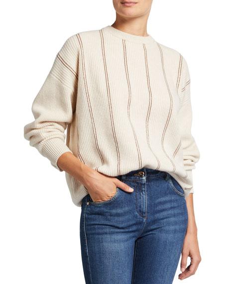 Brunello Cucinelli Monili Stripe Cashmere Sweater