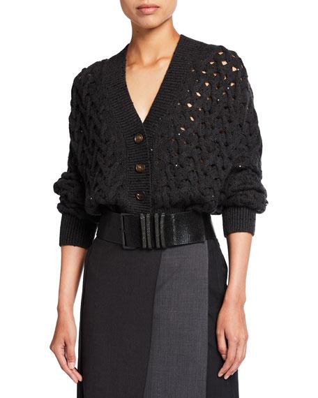 Brunello Cucinelli Cable-Knit Cashmere/Silk Paillette Cardigan